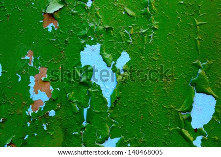 bright green cracked aged old painted metal texture - stock photo