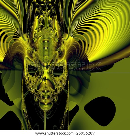 Bright green demon mask on black background. Computer-generated image - stock photo