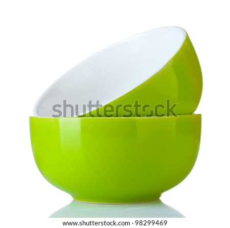 bright green empty bowls isolated on white - stock photo