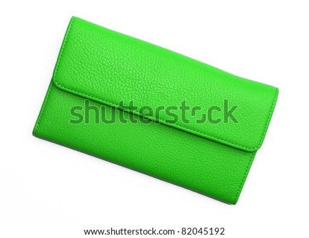 Bright Green Leather Wallet isolated on white background - stock photo