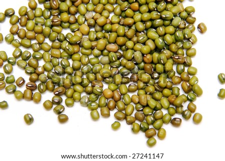 Bright Green Mung Beans in white background