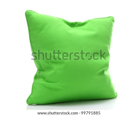 bright green pillow isolated on white - stock photo