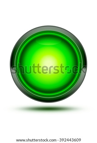 Bright Green traffic light symbol glowing while isolated on white. Green glass icon with wire texture inlay in the glass. Signaling that cars can go through a traffic intersection.