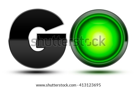 Bright green traffic light used to make the word go! Concept for starting, going, moving forward and beginning your journey!