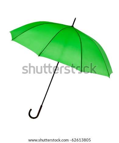 Bright green umbrella - isolated on white.