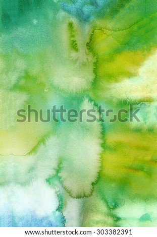 Bright green watercolor background. Abstract hand-drawn texture for image editing and design - stock photo