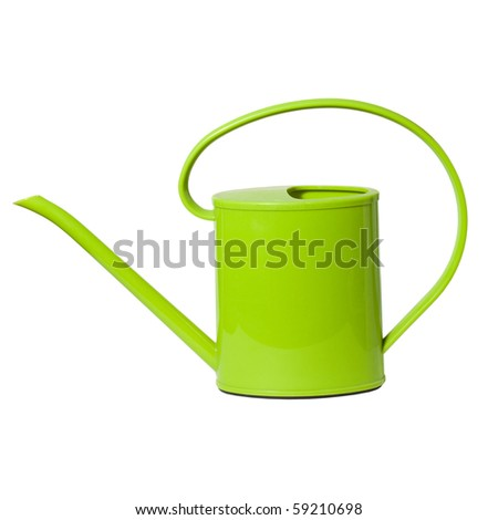 Bright green watering can isolated on white background - stock photo