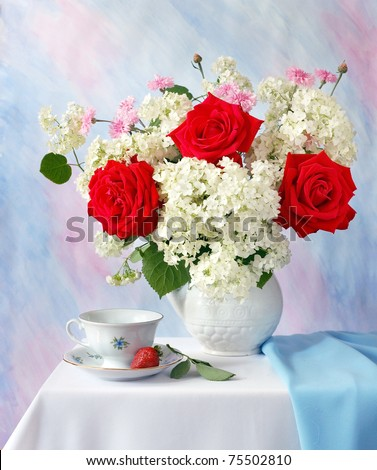Bright greeting card with red roses and strawberries - stock photo