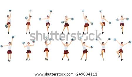 Bright Group Girls Cheerleaders  - stock photo