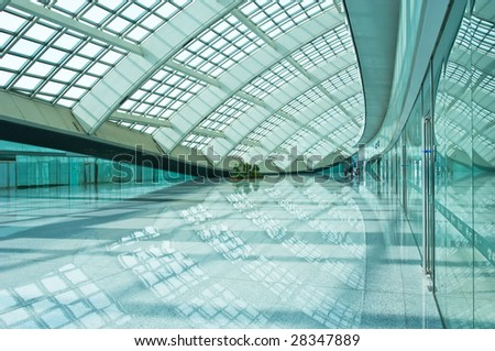bright hall of airfield in Beijing, China. - stock photo