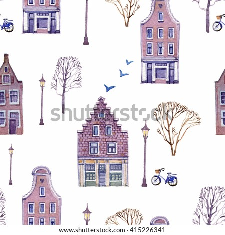 Bright hand drawn seamless pattern with beautiful houses, lamps, bicycles and trees on a white background. Watercolor painting - stock photo