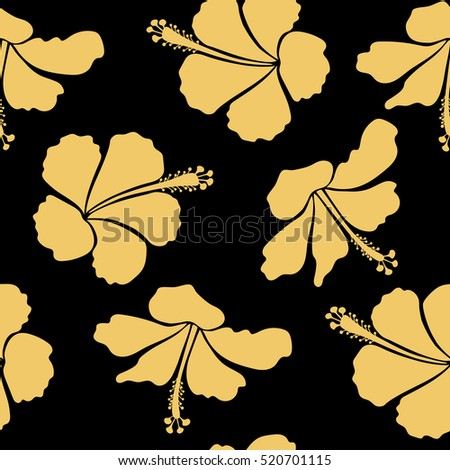 Bright hawaiian seamless pattern with tropical hibiscus flowers on black background in yellow colors.