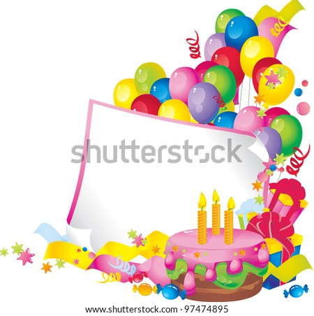 Bright Holiday composition of cake, balloons, gift boxes, confetti,, sweets, Streamer, and a sheet of paper for your text congratulations - stock photo