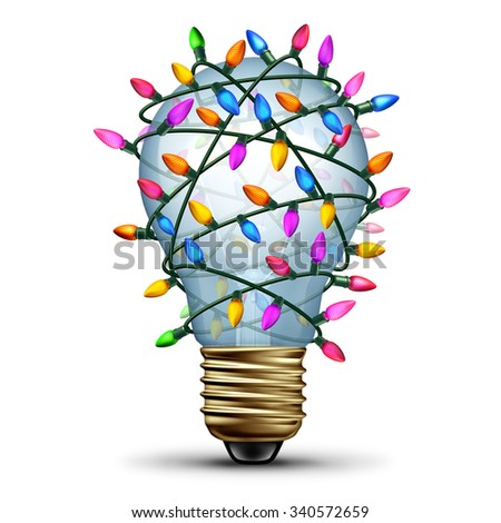 Bright holiday idea winter seasonal concept as a light bulb wrapped with christmas lights as a festive symbol for decorating ideas or gift giving inspiration. - stock photo