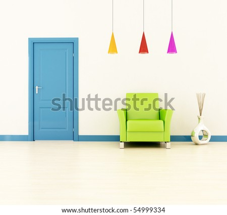 bright home entrance with blue door and green leather armchair -rendering - stock photo