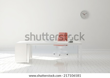 Bright home office in room with desk and computer - stock photo