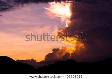 Bright Horizon Sunset Glow  - stock photo