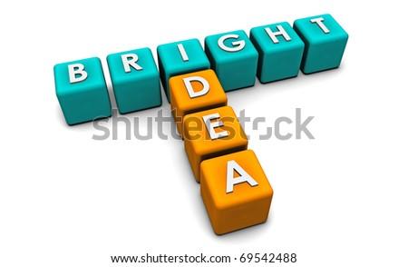 Bright Idea in Simple and Creative 3D Blocks - stock photo