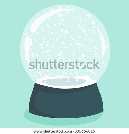 Bright illustration with cute cartoon snow globe in green stand on light-blue background. Christmas design element with empty space to place your decoration detail - stock photo