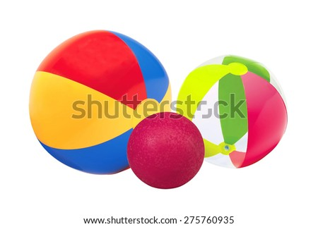 bright inflatable child balls isolated on white background - stock photo