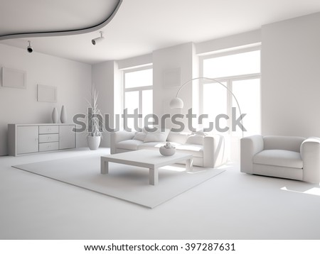 bright interior design of living room with grey furniture - 3d illustration