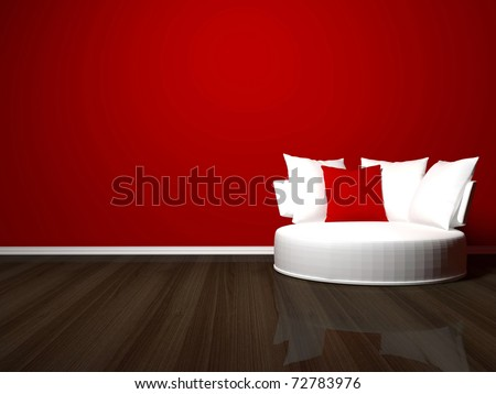 bright interior design of modern living room, white sofa, red wall, 3d render - stock photo