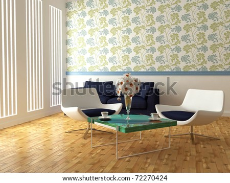 bright interior design of modern living room with white armchairs, table and beautiful flowers, 3d render