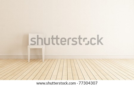 bright interior with chair against wall - rendering - stock photo