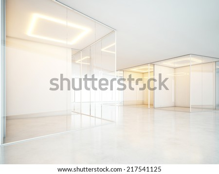Bright interior with empty rooms - stock photo