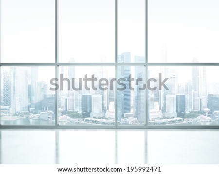Bright interior with large window - stock photo