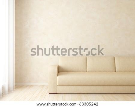 Bright interior with sofa near window - stock photo
