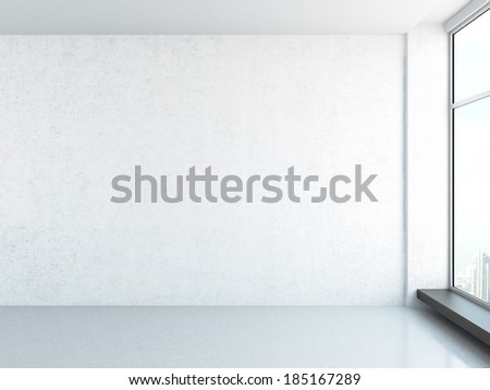 bright interior with window - stock photo