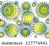 Bright  intricate modern floral and geometric abstract design superimposed on plain  white background. - stock photo