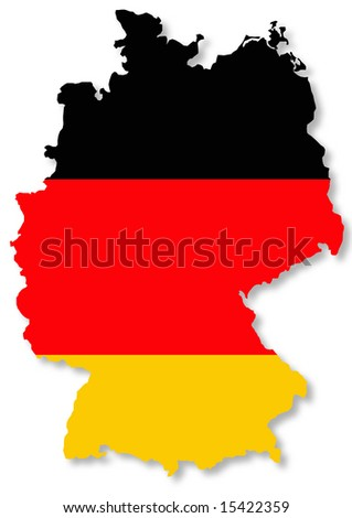 bright isolated illustration of German flag on country map