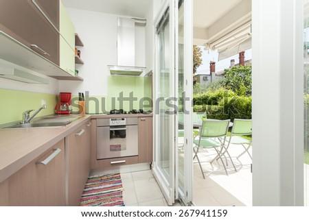 bright kitchen full of light - stock photo