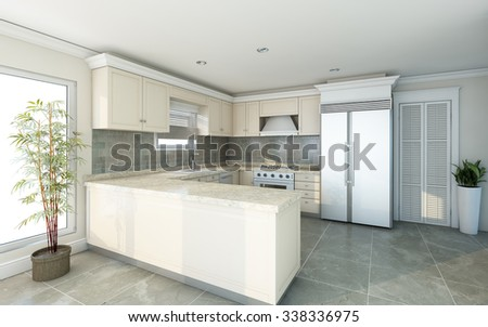 Bright Kitchen In Country House 3d Rendering