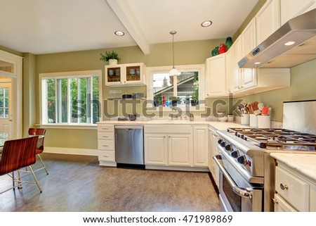 Bright kitchen interior design with white cabinets, marble counter top, stainless steel appliances and linoleum floor. Northwest, USA