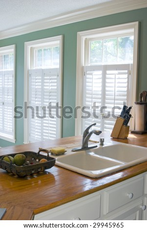 Bright kitchen of a typical American home. - stock photo