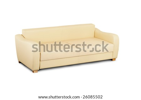 Bright leather sofa isolated on a white background.