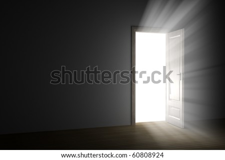 bright light through an open door in empty room - stock photo