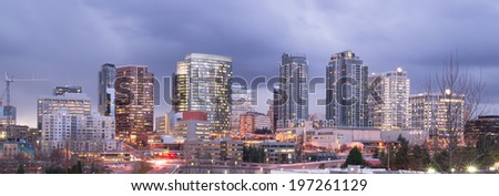 Bright Lights City Skyline Downtown Bellevue Washington United States - stock photo