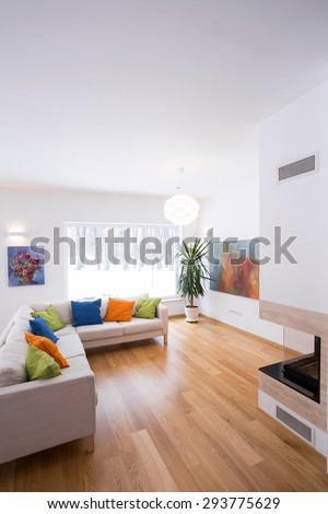 Bright living room interior with color details - stock photo
