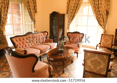 Bright living room of the 18th century - stock photo