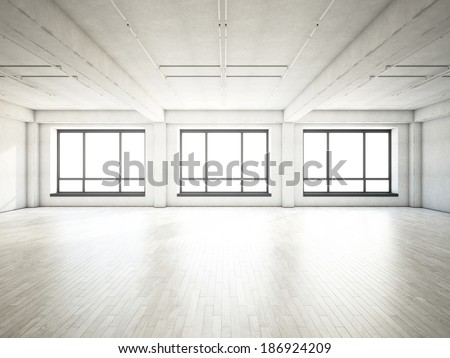 Bright loft with large windows - stock photo