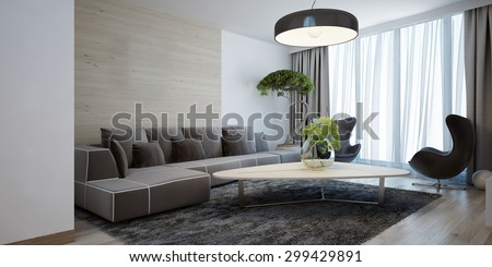 Bright lounge modern style. Spacious design room with a smooth wooden table, corner sofa and chairs. The combination of white and light brown wooden walls. 3D render. - stock photo