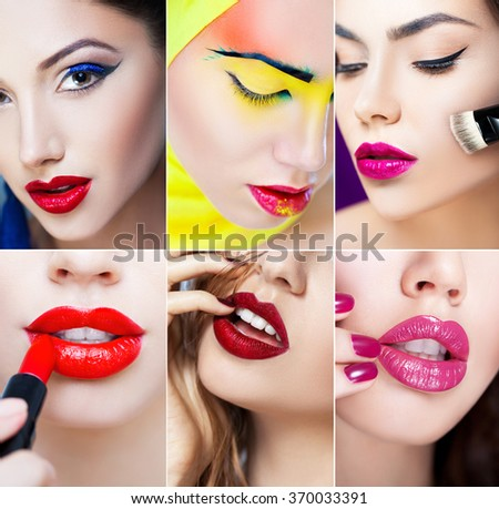Bright makeup collage