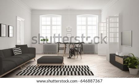 Bright Minimalist Living Room Sofa Dining Stockillustration Simple Sofa In Dining Room