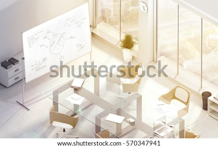 Bright Modern Conference Office Room Design Mockup 3d Rendering Isometric View Of The Sunny