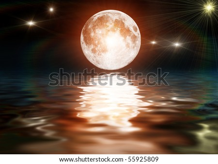 Bright moon on dark water - stock photo