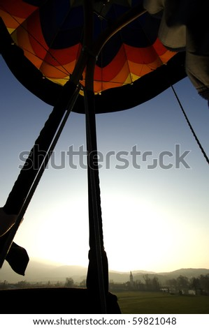 Bright morning light in the hot air balloon.